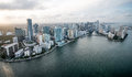 Miami from the air shot of buildings in coast Royalty Free Stock Images