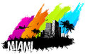 Miami banner skyline multi color grunge city Royalty Free Stock Images