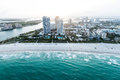 Miami beach beautiful coastline of shot from the air Stock Image