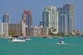 Miami Beach Condos Overlooking Biscayne Bay Royalty Free Stock Photo