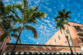 Miami beach espanola way street with palm trees and blue sky in Royalty Free Stock Photography