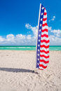 Miami beach flag colorful stars and stripes in Stock Images