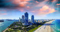 Miami Beach, Florida. Beautiful panoramic aerial view at sunset Royalty Free Stock Photo
