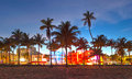 Miami beach florida beautiful sunset hotels and restaurants at on ocean drive world famous destination for it s nightlife weather Royalty Free Stock Images