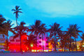 Miami beach florida hotels and restaurants at sunset on ocean drive world famous destination for it s nightlife beautiful weather Royalty Free Stock Photos