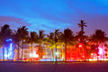 Miami beach florida hotels and restaurants at sunset on ocean drive world famous destination for it s nightlife beautiful weather Stock Photo