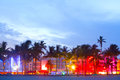 Miami Beach, Florida hotels and restaurants at sunset Royalty Free Stock Photo