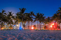 Miami Beach, Florida hotels and restaurants at twilight on Ocean Royalty Free Stock Photo