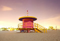 Miami beach florida lifeguard house at night colorful long exposure under moonlight Stock Images