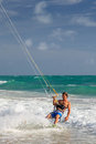 Miami beach kitesurfer an unidentified surfing off florida Royalty Free Stock Photography