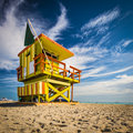 Miami beach lifegaurd tower florida on at a lifeguard Stock Photography