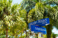 Miami beach lincoln road and meridian avenue street signs located in Royalty Free Stock Photography