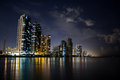 Miami beach at nigh ocean shore buildings night nochnoy landscape stars lights and reflected in water Royalty Free Stock Photography
