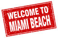 Miami Beach red square welcome to stamp Royalty Free Stock Photo