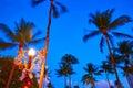 Miami Beach South Beach sunset palm trees Florida Royalty Free Stock Photo