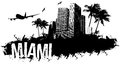 Miami black background skyline urban grunge Royalty Free Stock Image