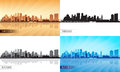 Miami city skyline silhouettes set vector illustration Royalty Free Stock Photo