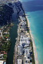Miami coastline seen from high altitude Stock Photo
