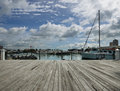 Miami dock view on harbor in bayside area Stock Photos