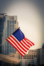 Miami downtown american flag and a skyscraper in background Royalty Free Stock Photos