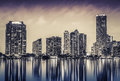 Miami downtown at night in south florida Stock Photography