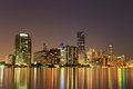 Miami Florida bayfront skyline at night Royalty Free Stock Image