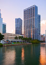 Miami florida brickell and downtown financial buildings reflected over miami river on a beautiful summer day at sunset Stock Photo