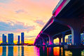 Miami florida at sunset colorful skyline of illuminated buildings and macarthur causeway bridge Royalty Free Stock Photography