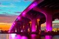 Miami florida at sunset colorful skyline of illuminated buildings and macarthur causeway bridge Stock Image