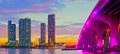 Miami florida at sunset colorful skyline of illuminated buildings and macarthur causeway bridge Royalty Free Stock Images