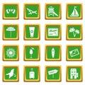 Miami icons set green
