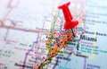 Miami map closeup of with red push pin Royalty Free Stock Images