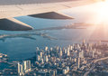 Miami skyline from the airplane in a bright sunny day Stock Images