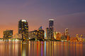 Miami skyline at dusk showing apartment highrises in brickell Stock Images