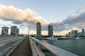 Miami skyline view from bridge connecting south beach to downtown Stock Photography