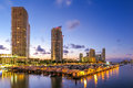 Miami south beach street view with water reflections and the mar Royalty Free Stock Photo