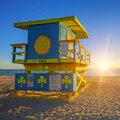 Miami South Beach sunrise with lifeguard tower Royalty Free Stock Photo