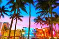 Miami South Beach sunset Ocean Drive Florida Royalty Free Stock Photo
