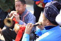 Miao nationality men playing music instrument to celebrate the local festival at fenghuang ancient town china oct Royalty Free Stock Photos