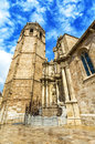 Micalet - Cathedral of Valencia  on  Queen Square, Valencia. Spa Royalty Free Stock Photo