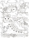 Mice adult coloring page lovely afternoon tea party for Stock Photos