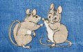 Mice fight two play fighting with each other blended on a cotton texture Stock Images