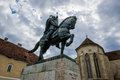 Michael the brave statue of in citadel of alba iulia city in romania st x s cathedral on background Stock Photo