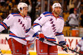 Michael Del Zotto and Mike Rupp NY Rangers Stock Photo