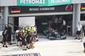Michael Schumacher exits pit garage Royalty Free Stock Photo