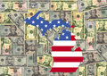 Michigan with flag and dollars Royalty Free Stock Photos