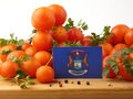 Michigan flag on a wooden panel with tomatoes isolated on a whit Royalty Free Stock Photo