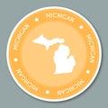 Michigan label flat sticker design. Royalty Free Stock Photo