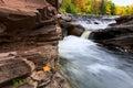 Michigan s upper peninsula bonanza falls in autumn vibrant colors provide a vivid background for Stock Photo
