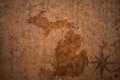 Michigan state map on a old vintage paper background Royalty Free Stock Photo